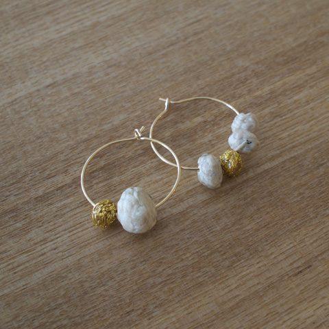 Suno & Morrison スノアンドモリソン cotton stone circle pierce ¥4,000 + tax ナチュラル