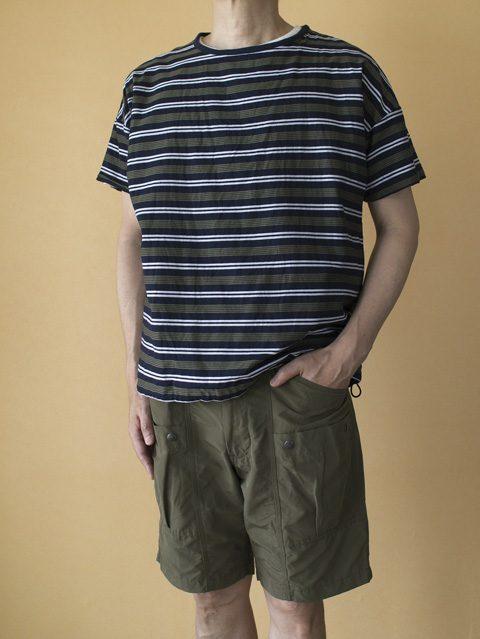 top : Manual Alphabet マニュアルアルファベット ボーダーリバーシブルTシャツ pant : WORKERS ワーカーズ Active Shorts