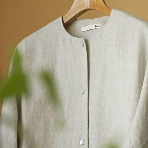 evam eva エヴァムエヴァ raising linen dolman robe
