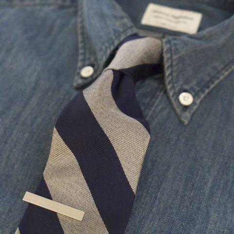 tie pin : WORKERS ワーカーズ Tie Clip neck tie : WORKERS ワーカーズ Silk Repp Tie shirt : Manual Alphabet マニュアルアルファベット 6oz デニムBDシャツ