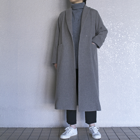 evam eva エヴァムエヴァ lamds wool robe coat