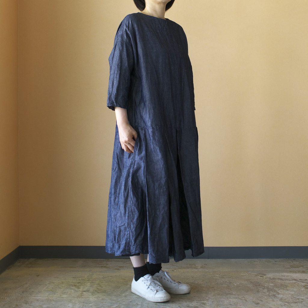 Gauze# ガーゼ G380 linen cotton pleated dress コットンリネンプリーツドレス・インディゴ