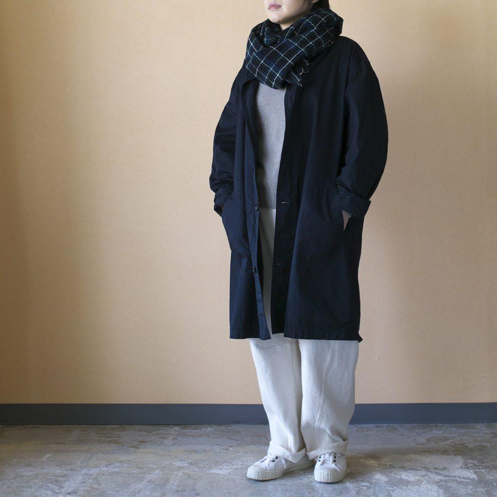 Manual Alphabet マニュアルアルファベット gaberdine overdyed shirt coat 製品染め高密度バーバーリーシャツコート・ダークネイビー