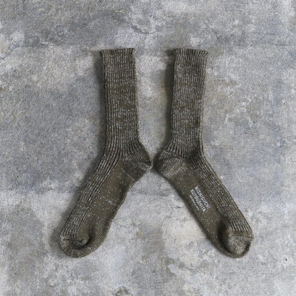 NISHIGUCHI KUTSUSHITA 西口靴下 ヘンプコットンリブソックス M/ HEMP COTTON RIBBRD SOCKS M