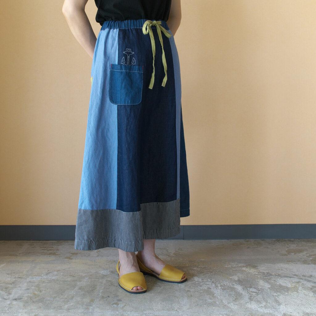 快晴堂 カイセイドウ デニムパッチワークギャザースカート