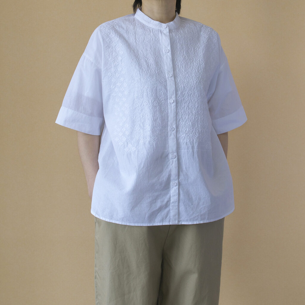 maison de soil メゾンドソイル banded collar S/SL EMB shirt バンドカラー刺繍半袖シャツ