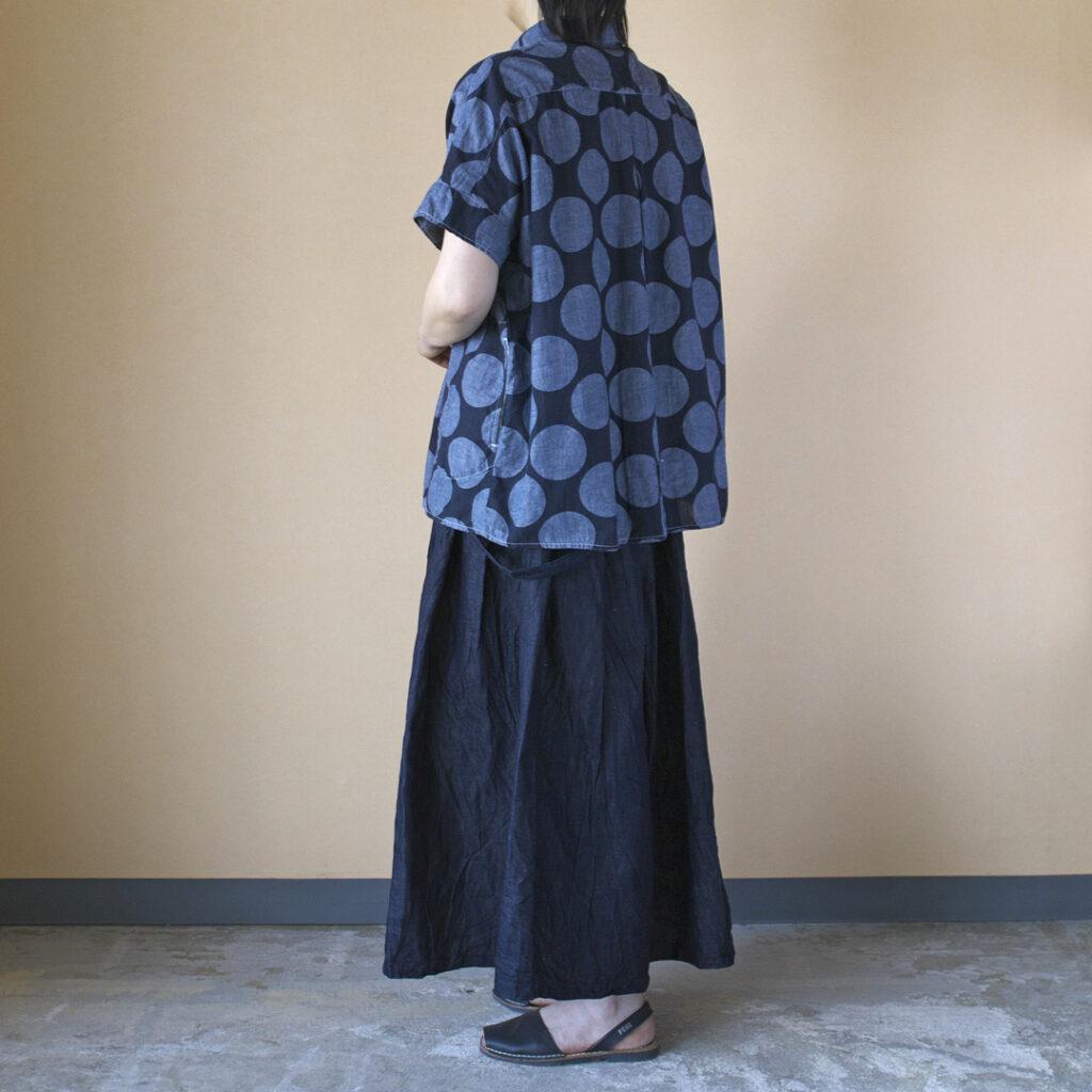 快晴堂 カイセイドウ 水玉ワイドフレンチスリーブシャツ