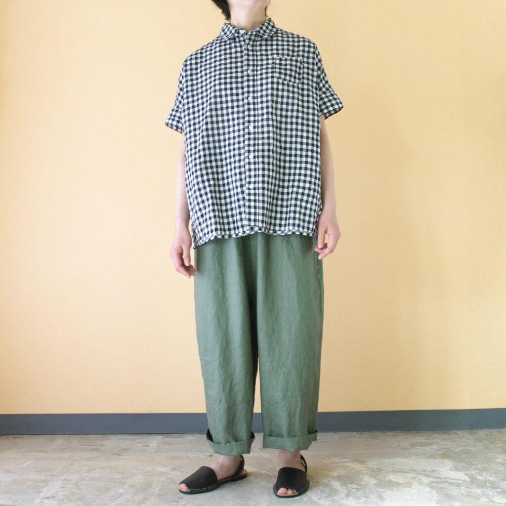 快晴堂 カイセイドウ ゆらぎギンガムチェックWIDEフレンチスリーブシャツ