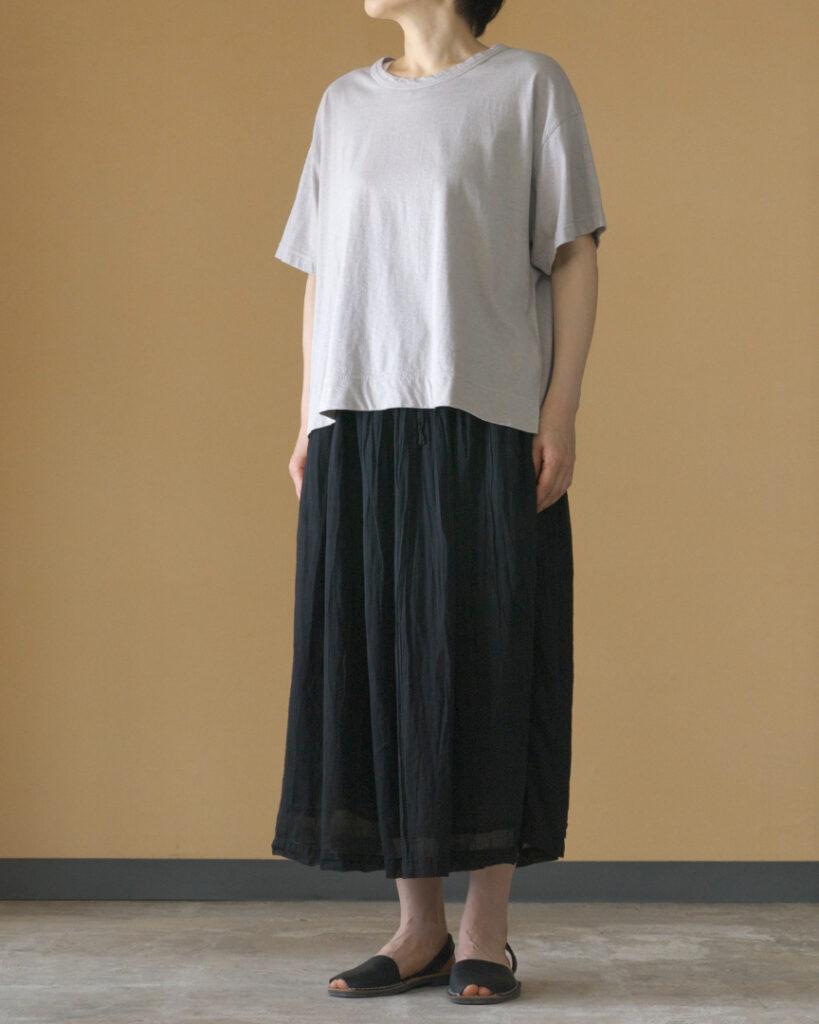 ARMEN アーメン 後染めユーティリティーイージーギャザースカート