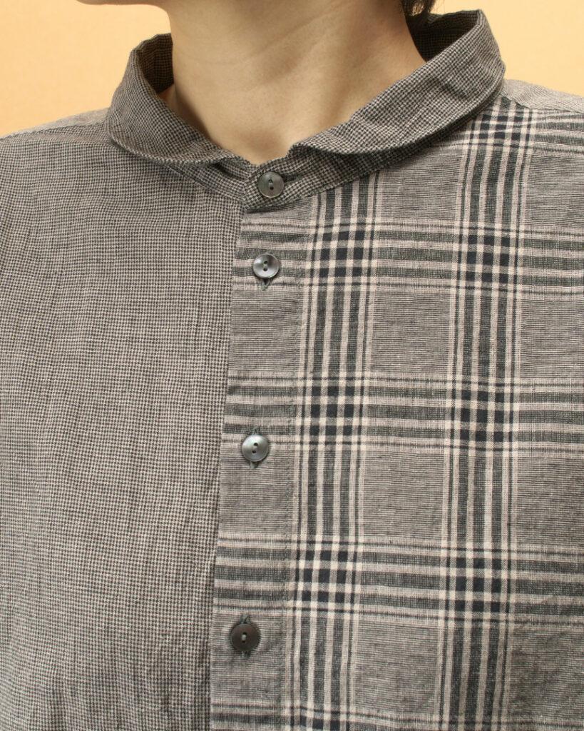 prit プリット パターンミックスラウンドカラーワイドシャツ