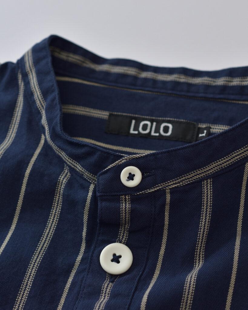 LOLO ロロ スタンドカラーストライプシャツ